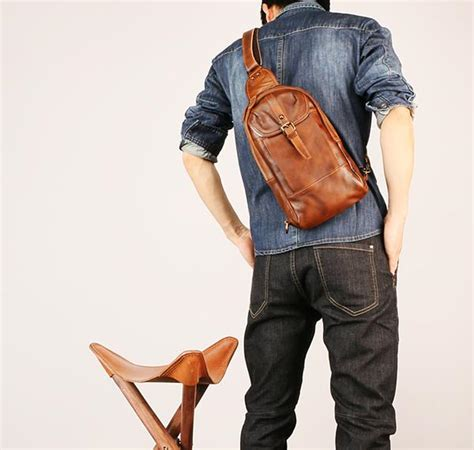 leather mens sling bag sling shoulder bag sling backpack  men iwalletsmen