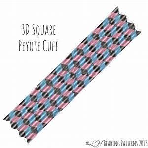 Beadweaving Bracelet Pattern 3D Square Cuff Peyote Pattern
