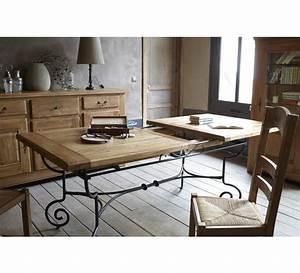 table rectangulaire batista fer forge bois 1475 With meuble de salle a manger avec lit fer forgé