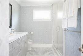 Light Grey Bathroom Accessories by Blue And Gray Bathroom With Light Gray Washstand And Marble Basketweave Floor