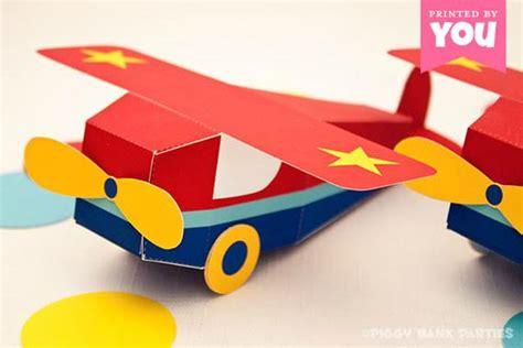 airplane favor box diy printable toy plane  instant