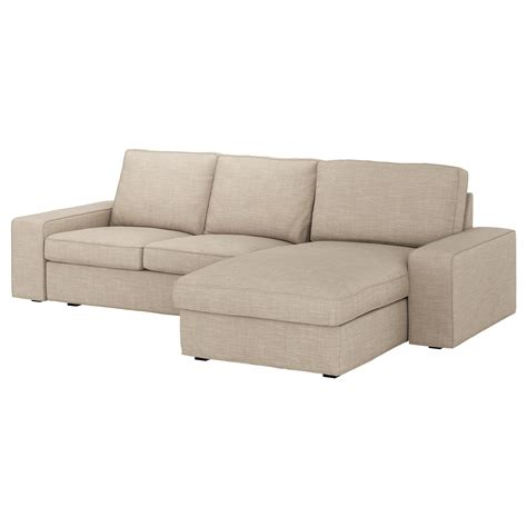 chaise ikéa kivik 3 seat sofa with chaise longue hillared beige ikea