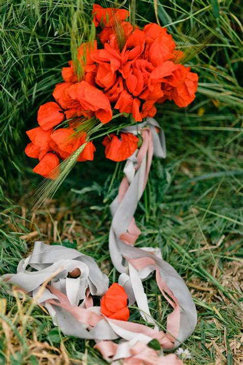 Memory Poppy Bouquet Poppy Wedding Bouquet Blue Gown For A Pre Wedding In A