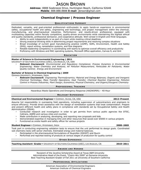 chemical engineer sle resume 19 resume sle for fresh