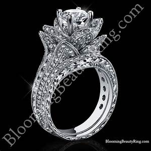 208 ctw large hand engraved blooming beauty wedding ring With flower wedding ring set