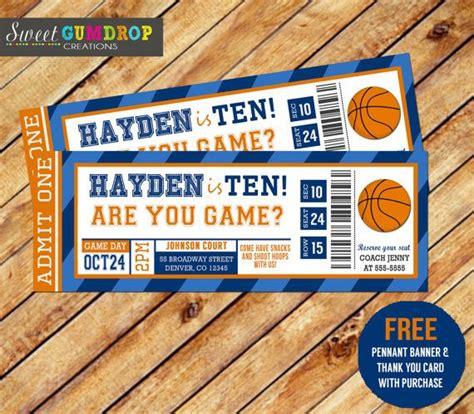 basketball ticket invitation printable  pennant