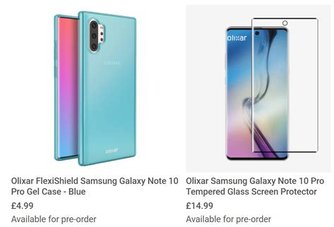 samsung galaxy note 10 pro cases confirm thin bezels sound display technology more