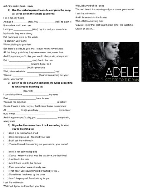Simple Past Song Worksheet Set Fire To The Rain By Adele