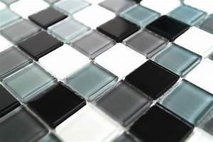 Fliesen Schachbrett Schwarz Weiss : glasmosaik fliesen schwarz wei grau mix kr10 mosaic outlet ~ Markanthonyermac.com Haus und Dekorationen