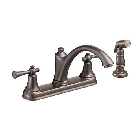delta kitchen faucets rubbed bronze delta foundations 2 handle standard kitchen faucet with