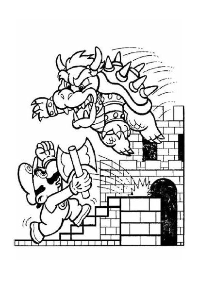 Mario Coloring Bowser Pages Printable Fighting