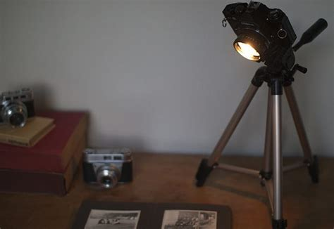 Old Camera And Tripod Turned Into An Awesome Desk Lamp