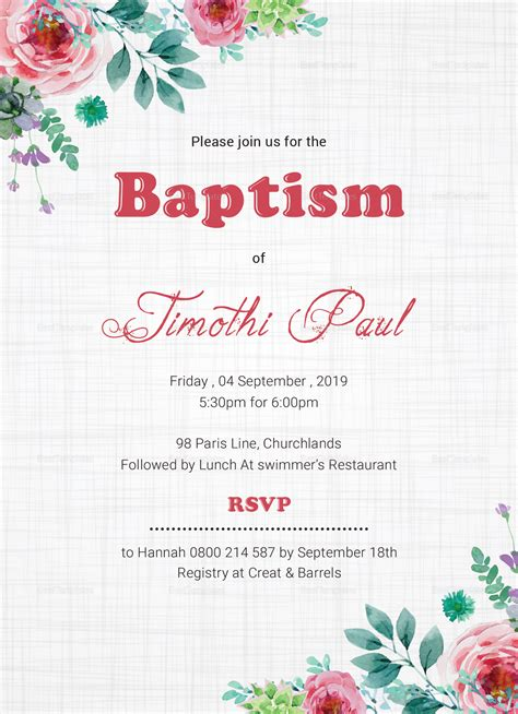 Baptism Invitation Card Design Template in Word PSD