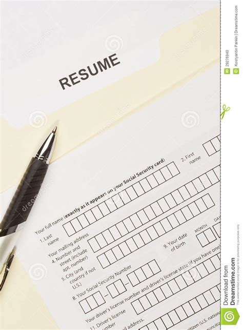 resume title page stock photo image 29276940