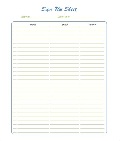 Blank Sign Up Sheet Pdf by 21 Sign Up Sheets Free Word Excel Pdf Documents
