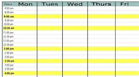 Monday Through Friday Calendar Template Erieairfair