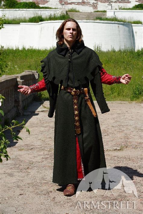 classic long medieval woolen coat  hood typical