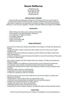 Facilities Maintenance Resume Template by Professional Facility Lead Maintenance Templates To Showcase Your Talent Myperfectresume