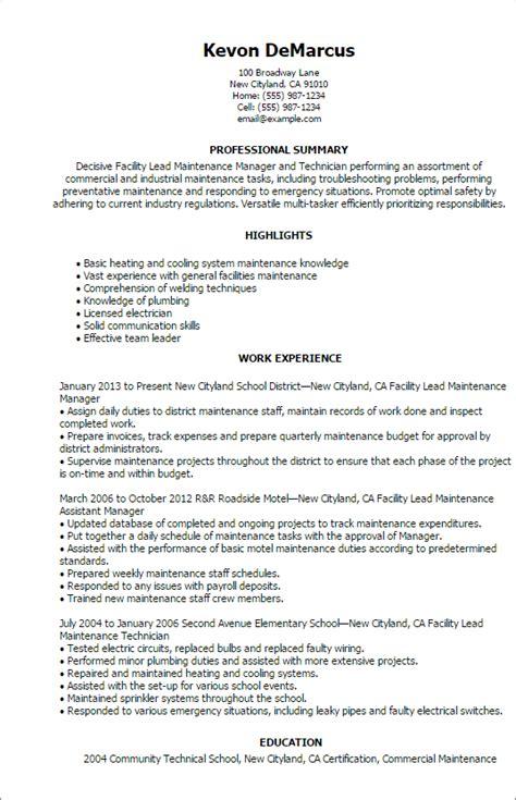 facility lead maintenance resume templates