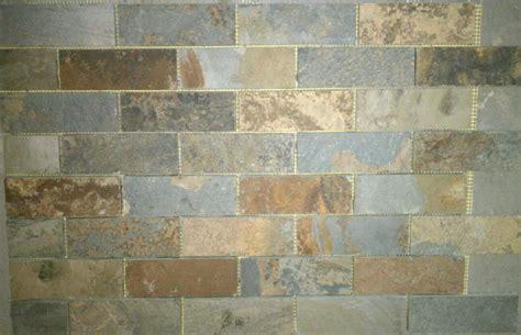 Slate Subway Pattern Mosaic Stone Tile Kitchen Backsplash