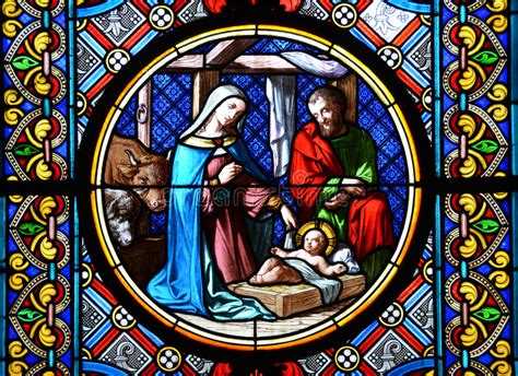 nativity scene stained glass stock image image