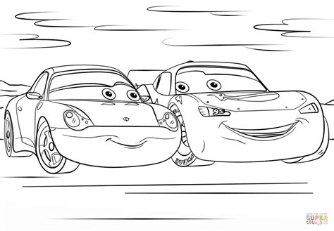 Cars Kleurplaat 3 by Lightning Mcqueen And Sally From Cars 3 From Disney Cars