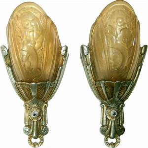 vintage pair lincoln fleurette slip shade wall sconces With vintage wall sconces