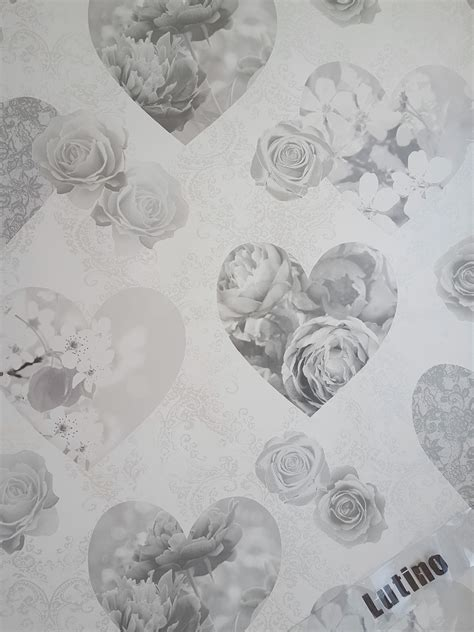 novelty shabby chic silver grey floral hearts love feature