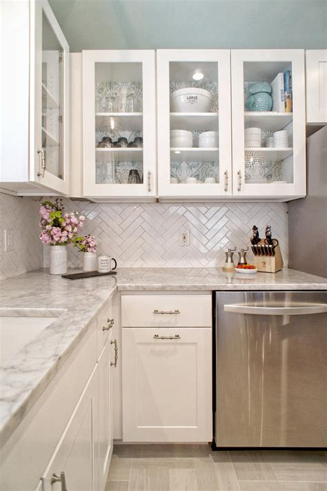 white  gray modern kitchen  herringbone backsplash