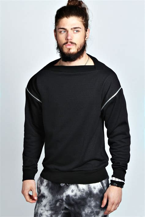 sleeve sweater mens boohoo mens square neck zip sleeve sweater in black ebay