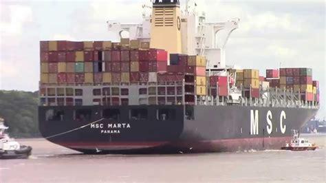 Container Ship MSC MARTA inbound into Hamburg, Germany on ...