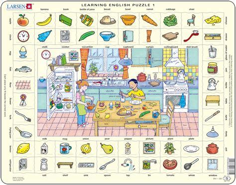 puzzle cadre apprendre l anglais 1 dans la cuisine en anglais larsen en1 70 pi 232 ces puzzles