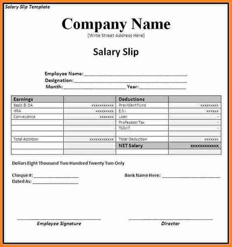 salary slip format  word simple salary slip