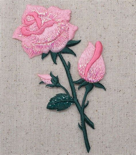 Patch Applique by Iron On Embroidered Applique Patch Large Pink Roses On