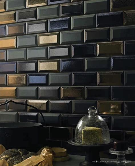 metallic subway tile beveled subway tile in dark metallic glazes is fabulous