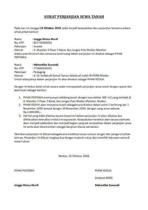 contoh surat perjanjian sewa tanah  bangunan
