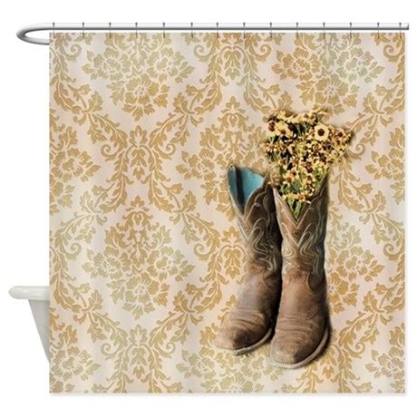 cowboy boots damask western country shower curtain by