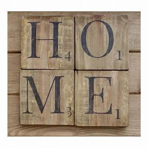 Home sign wooden scrabble letterswood wall artreclaimed for Large scrabble letters wall decor
