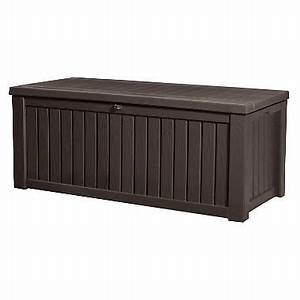 Keter rockwood 150 gallon outdoor plastic storage box for Plastic furniture covers for storage