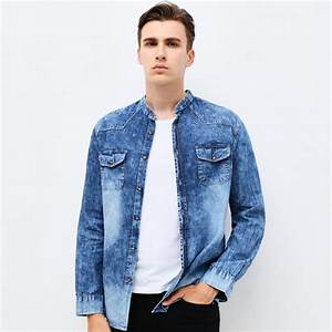 Buy Clothing Mens Denim Shirt Long Sleeve Mandarin Collar Slim Fit Jeans Shirt Cotton Casual ...