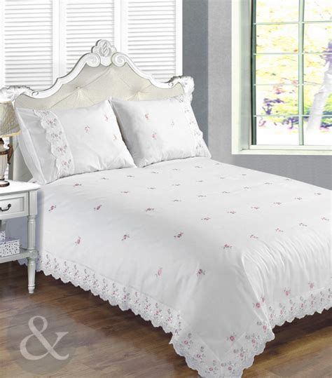 Vintage Lace White Duvet Cover  Broderie Anglaise