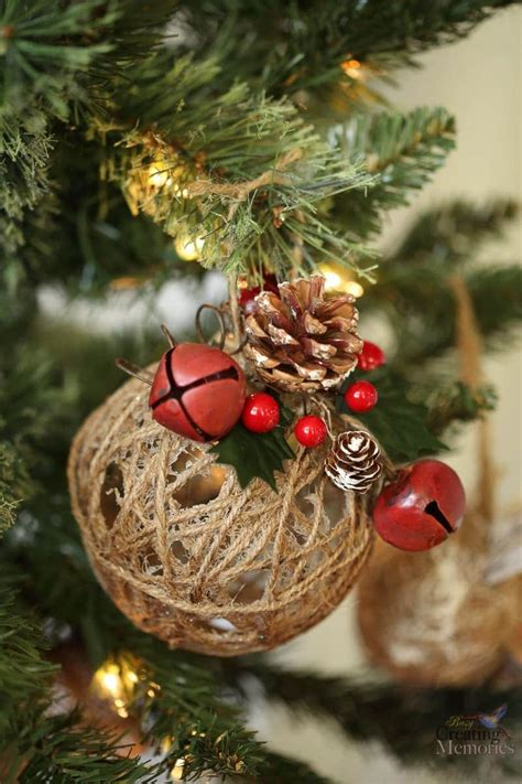 rustic christmas ornaments tutorial easy glittered twine