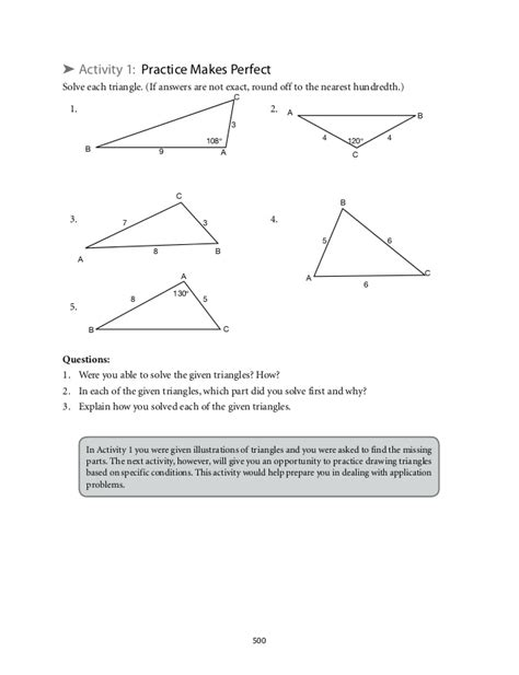 8 5 law of sines form g answer key 7 1 7 2 law of sines practice worksheet answers kidz