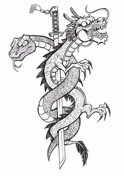 Coloring Adult Tattoo Pages Dragon Tattoos Tatouage