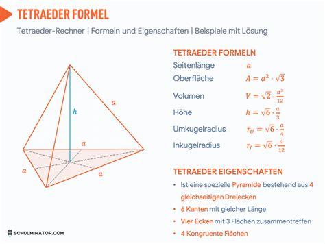tetraeder  berechnen volumen flaeche formel