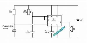 simple touch switch circuit using transistor 4017 555 ic With circuit piezo