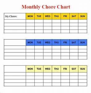 10 sample chore chart templates sample templates With chore chart for adults templates
