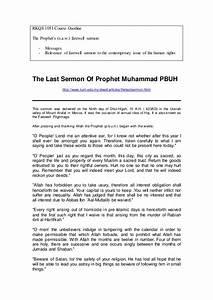 C9 - The Last Sermon of Prophet Muhammad PBUH
