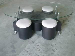 Table Basse 4 Poufs : table basse 4 poufs mdf plateau en verre tremp couleur wengue 36617 ~ Teatrodelosmanantiales.com Idées de Décoration