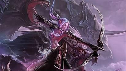 Female Elves Elf Fantasy Dark Blood Archer